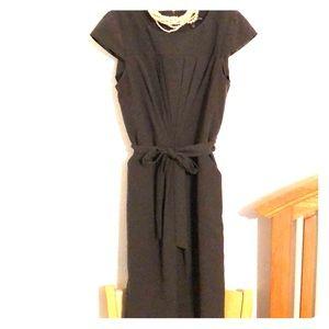 Dark olive dress w/pleats, cap sleeves & belt